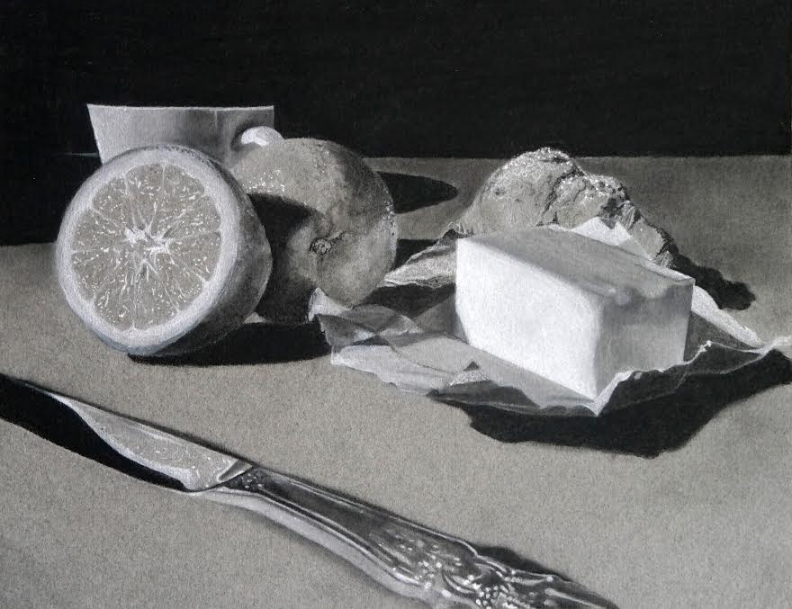Breakfast by Lili Weir, charcoal on paper