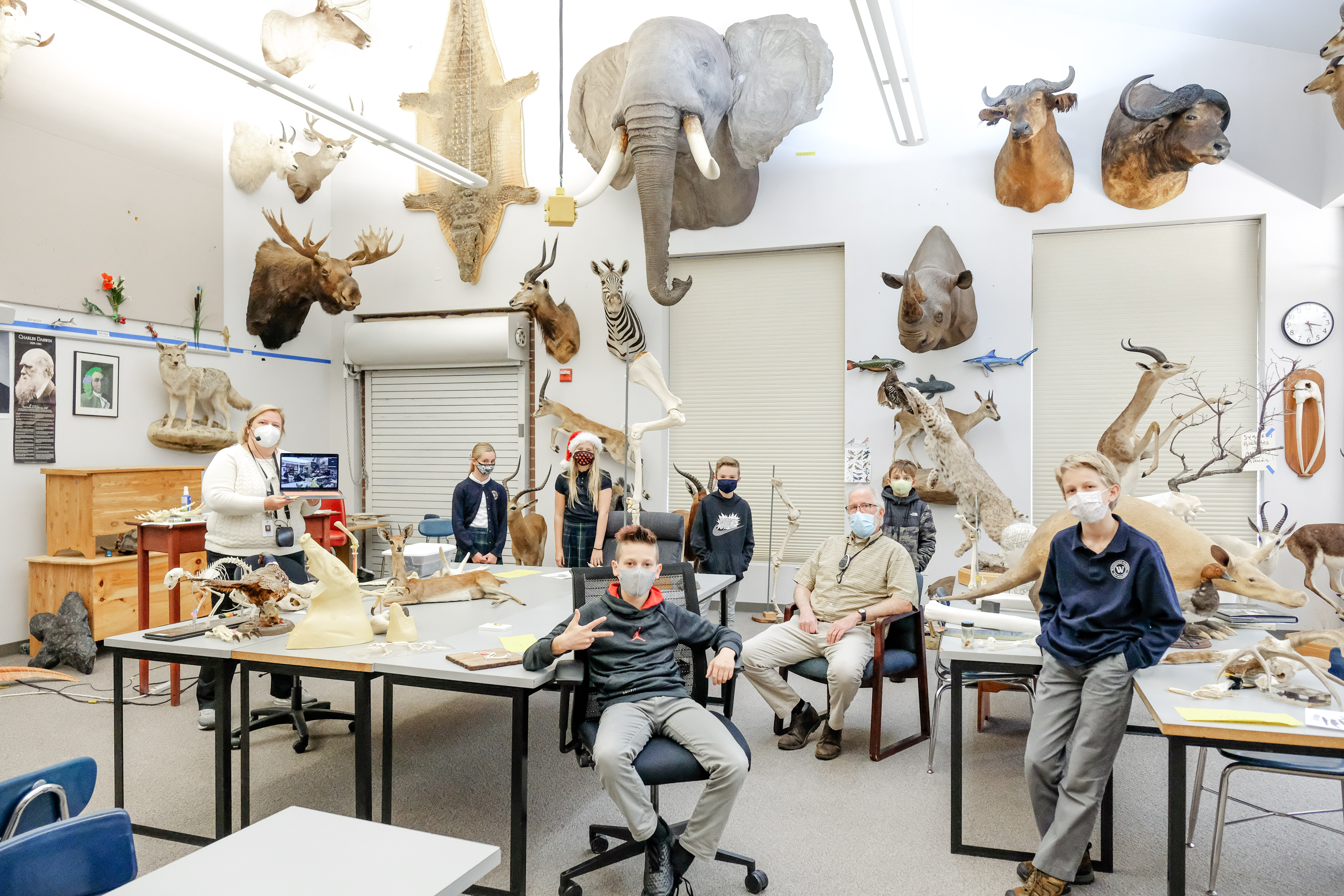 Class V students in the Nature Lab