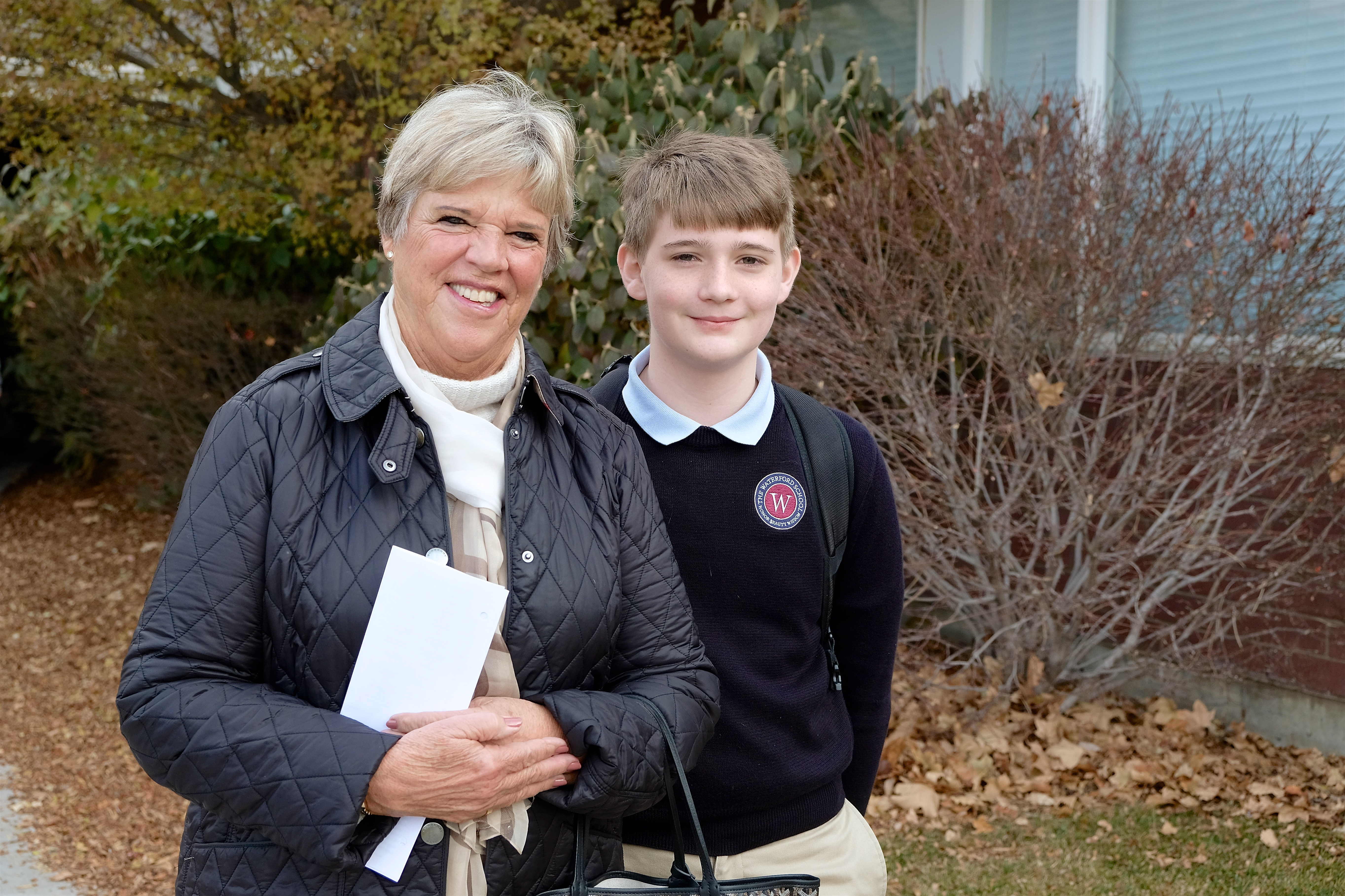 Nancy Heuston and her Grandson at the 32nd Grandparents Visiting Day at Waterford School, 2018