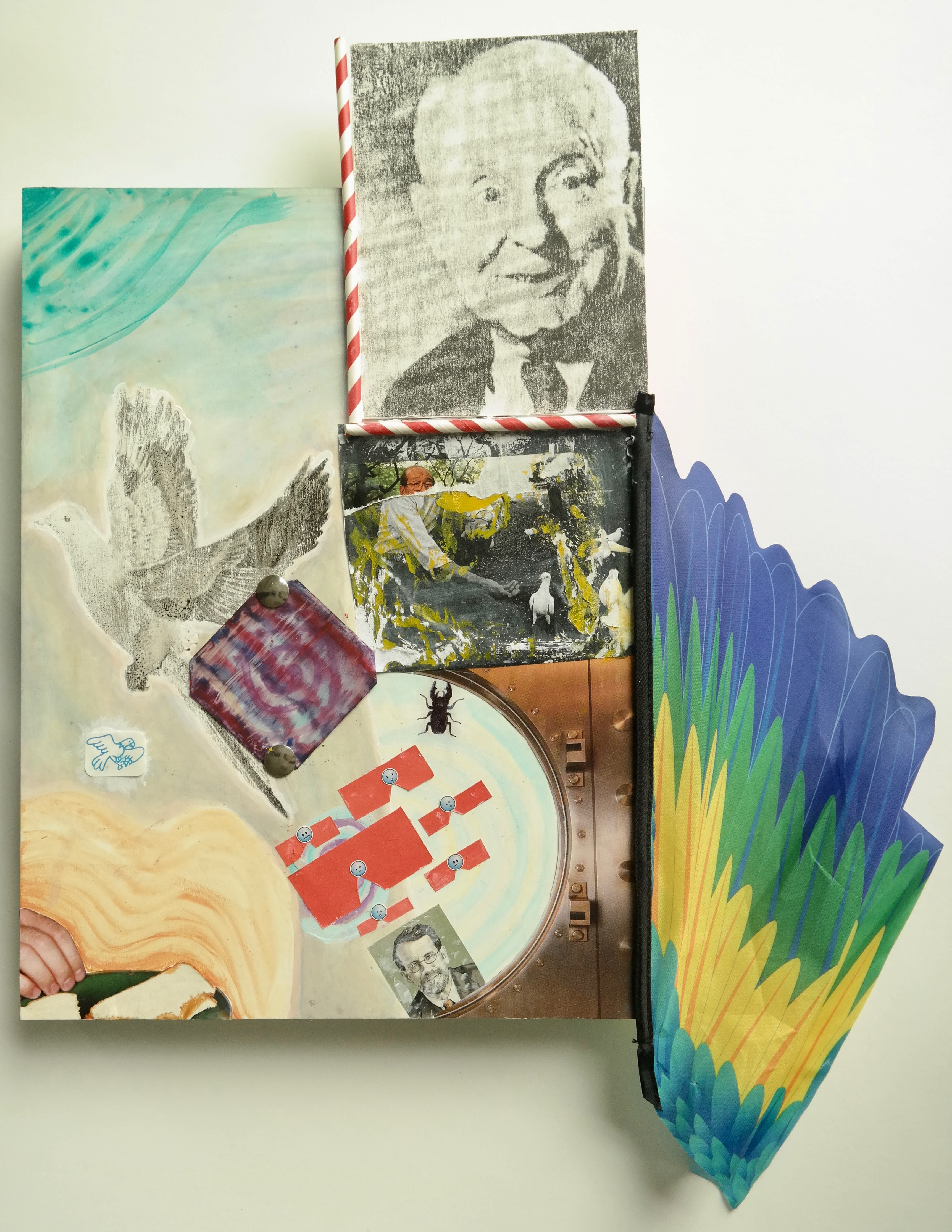 Liam B. '20, Untitled, acrylic paint, transfers, collage, stickers, thumbtacks, drinking straws, and plastic kite wing on cradled panel, 2018