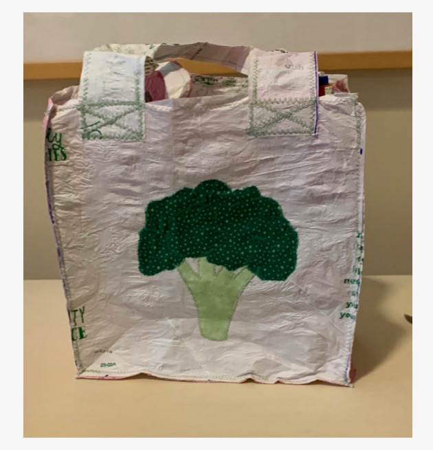 Rachel G., Class XI - Tote Bag made from Recycled materials Sewing and Textile Design - Mrs. Brewer