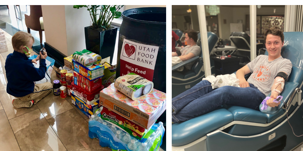 Payson D. '21 giving blood during the pandemic; William W. '30 donating food to the Utah Food Bank