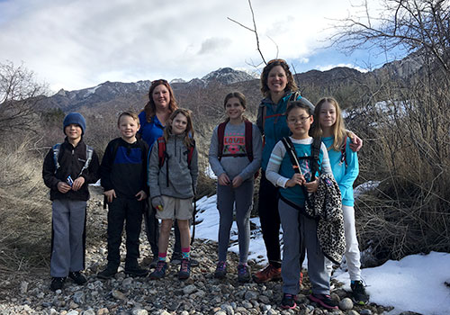 Colleen Thompson takes Lower School students on experiential learning journeys through the Wasatch in the Lower School Outdoor Program.