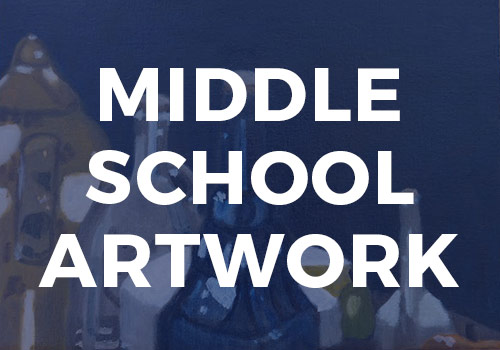 Middle school students are introduced to a wide variety of drawing and painting techniques.