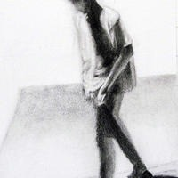 Charcoal Drawing of Student Walking